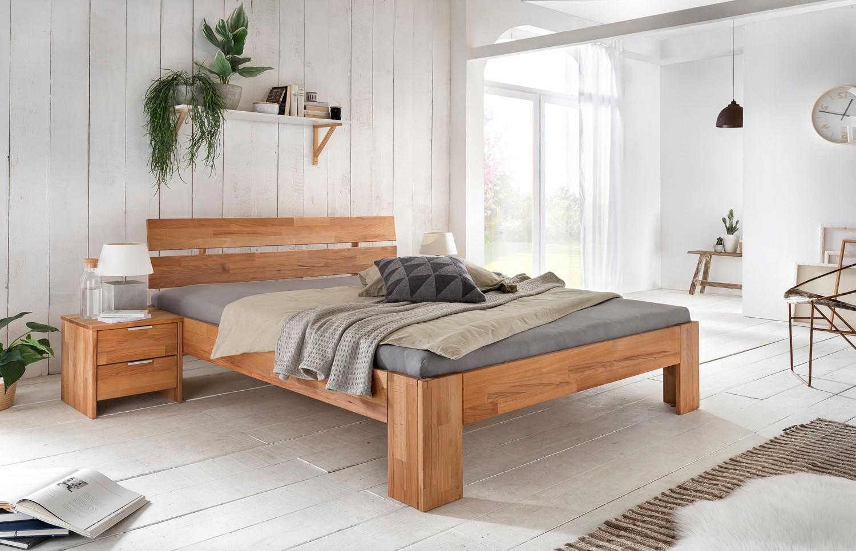 ALICE-2 Doppelbett 200x220 ÜBERLÄNGE Kernbuche massiv | Schlafzimmer > Betten > Doppelbetten | Massiver - Holz | Empinio24