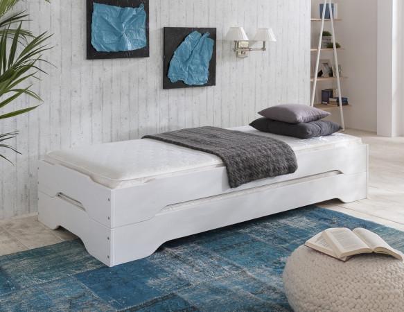 sylt stapelbetten 2x 100x200 kiefer wei 2x tfk. Black Bedroom Furniture Sets. Home Design Ideas
