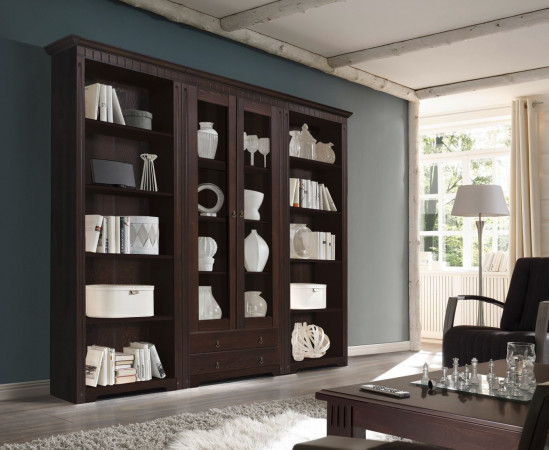 cordoba 2x regale vitrine bibliothek kiefer massiv kolonial lackiert kaufen m bel shop empinio24. Black Bedroom Furniture Sets. Home Design Ideas