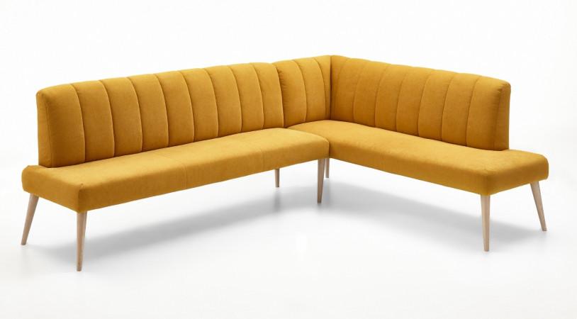 Eckbank aus Stoff 265x157 cm Beine aus Buche oder Eiche Farben wählbar MALMÖ