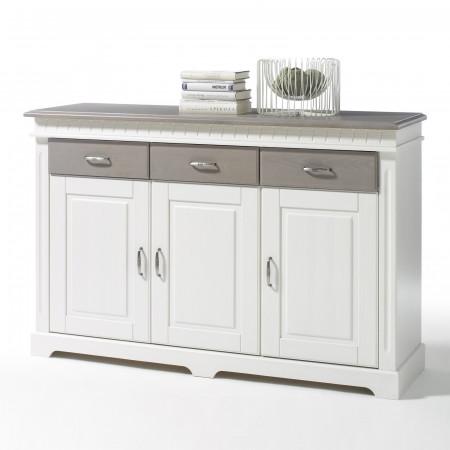 CORDOBA Sideboard 3-trg Kiefer massiv weiß/taupe lackiert
