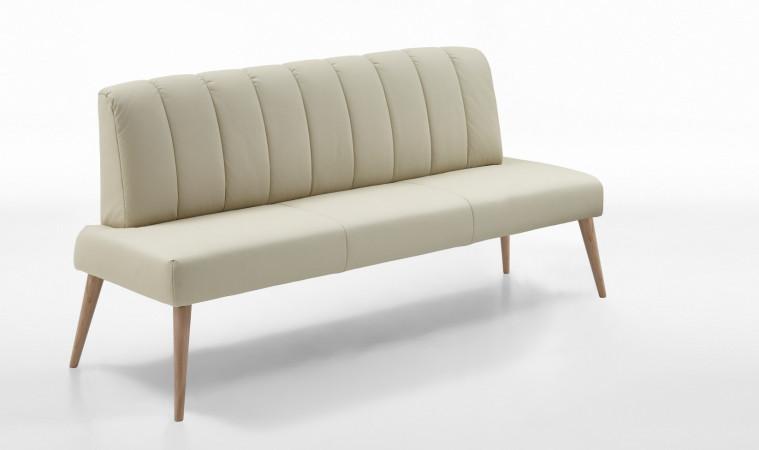 Sitzbank aus Kunstleder 162 cm Beine aus Buche oder Eiche Farben wählbar MALMÖ