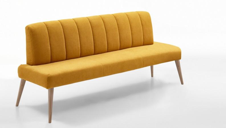 Sitzbank 162 cm aus Stoff Beine aus Buche oder Eiche Farben wählbar MALMÖ