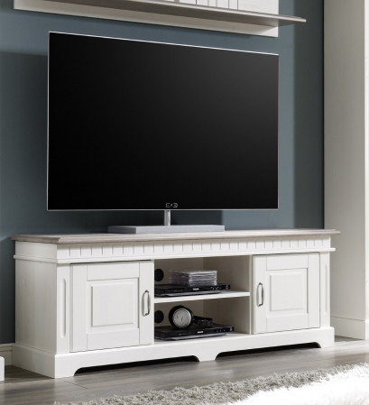 Cordoba Lowboard 2 Trg Tv Kommode Kiefer Massiv Weiss Grau Kaufen