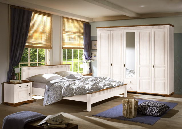 SEVILLA Doppelbett Bett mit niedrigem Kopfteil Kiefer massiv weiß