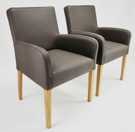 Armlehnstuhl aus Leder Beine aus Buche oder Eiche Farben wählbar ALFO