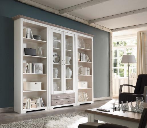Bücherregale mit Vitrine weiß aus Massivholz Kiefer Serie CORDOBA