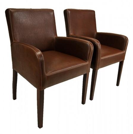 Armlehnstuhl aus Kunstleder Beine aus Buche oder Eiche Farben wählbar ALFO