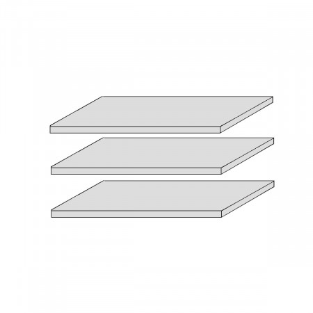 CORDOBA 3x Stück Fachböden f. Vitrine-72  Kiefer massiv weiß lackiert