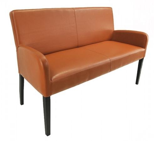 ALFO Sitzbank mit Lehne Breite 123 cm Bezug Kunstleder Beine aus Buche oder Eiche