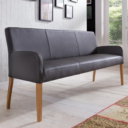 Sitzbank aus Leder 123 cm Beine aus Buche oder Eiche Farben wählbar ALFO
