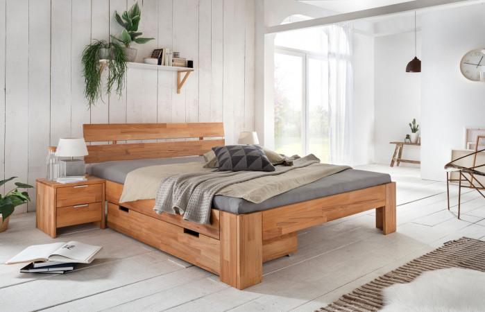 Doppelbett mit Schubalde 160x200 + 2x Nachttischen Kernbuche massiv geölt Alice-2