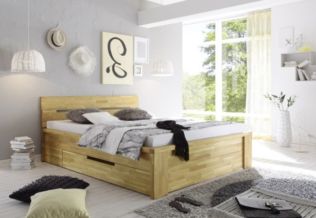 salerno bett mit schubladen 160x200 wildeiche massiv ge lt kaufen m bel shop empinio24. Black Bedroom Furniture Sets. Home Design Ideas