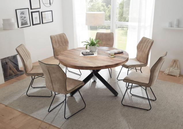 Essgruppe 7-teilig im Industrial Stil 1x runder Esstisch und 6 Stühle