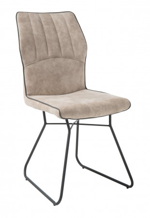 Esszimmerstühle 2-er Set aus Microfaser beige mit schwarzem Metallgestell Bedford
