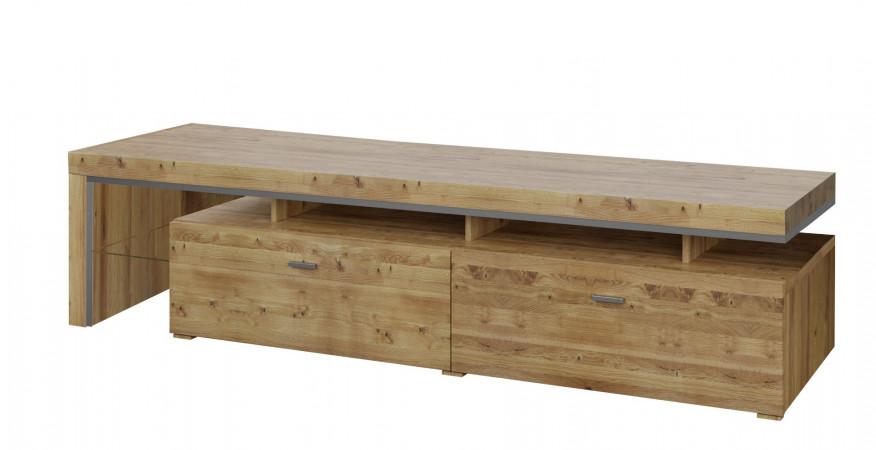 BASEL TV- Lowboard 220 cm rechts mit 2 Schubkästen Asteiche