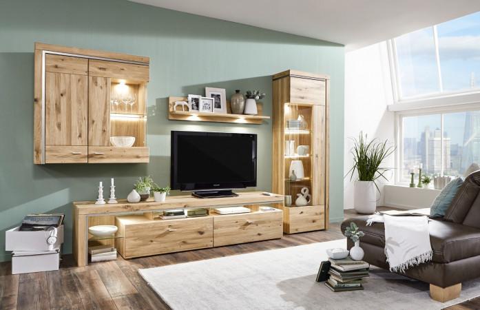 Basel Wohnwand 103 Asteiche Teilmassiv Kaufen Möbel Shop Empinio24