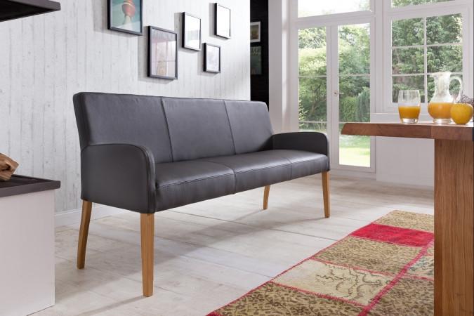 ALFO Polsterbank Sitzbank 163 cm Echtleder Beine aus Buche oder Eiche