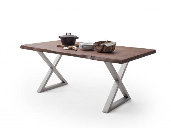Baumkanten-Esstisch mit Edelstahlgestell