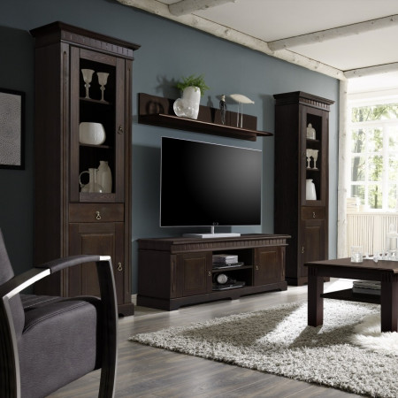 cordoba wohnwand 4 teilig kiefer massiv kolonial lackiert. Black Bedroom Furniture Sets. Home Design Ideas