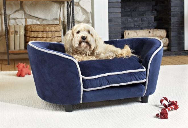 KAHU Hundebett Katzenbett Navy mit Kissen und Tasche - KaHu Pet Furniture