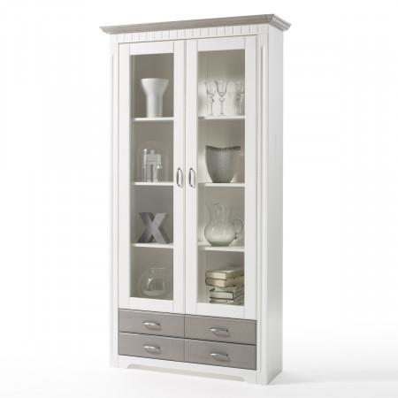 CORDOBA Vitrineschrank 2-trg Kiefer massiv weiß/taupe kaufen | Möbel ...