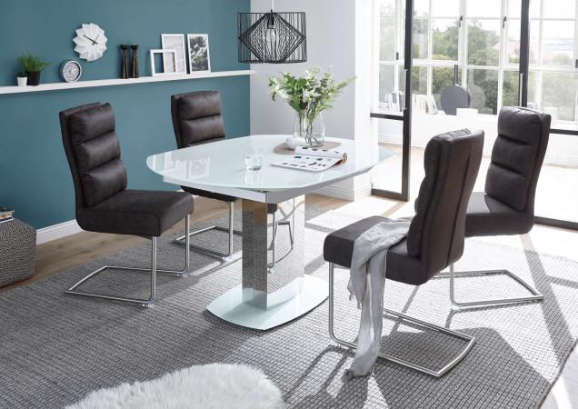 Tischgruppe 5-teilig mit Esstisch aus Glas weiß und 4 Freischwinger grau
