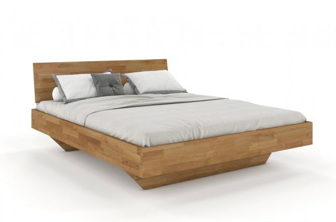 FLORENZ Doppelbett in Schwebeoptik mit durchgehendem Kopfteil 180x200 aus massiver Wildeiche