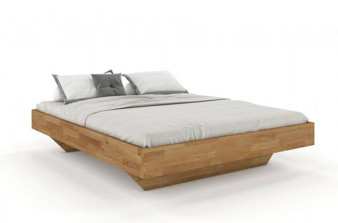 FLORENZ Doppelbett in Schwebeoptik ohne Kopfteil 160x200 aus massiver Eiche