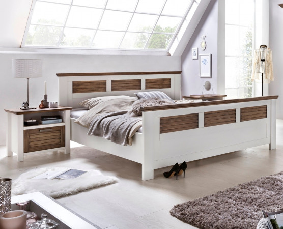 laguna doppelbett 200x200 pinie teilmassiv wei terra. Black Bedroom Furniture Sets. Home Design Ideas