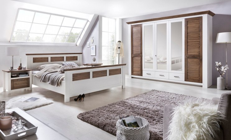 laguna schlafzimmer set mit schrank 5 trg bett 180x200 pinie teilmassiv wei braun kaufen. Black Bedroom Furniture Sets. Home Design Ideas