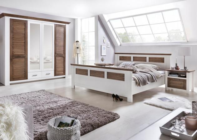 LAGUNA Schlafzimmer Set Mit Schrank 4 Trg Bett 160x200 Pinie Teilmassiv  Weiß Terra Gewischt