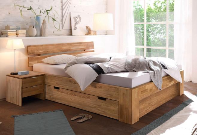 Bett mit Schublade 160x200 mit Blende & 2 Nachtkommoden aus massiver Wildeiche Lena-2