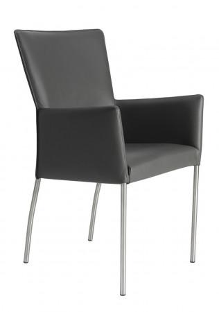Armlehnstuhl aus Leder Farbe wählbar Beine aus Edelstahl LENARD