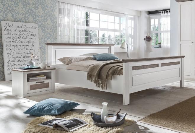 Doppelbett 160x200 weiß taupe Pinie teilmassiv Locarno