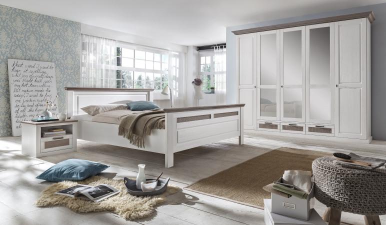 LOCARNO Schlafzimmer Set Drehtürenschrank 5-türig Bett 160x200 Pine ...