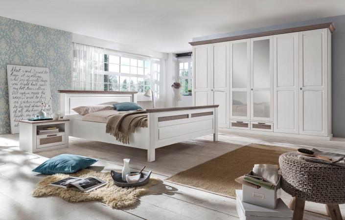 LOCARNO Schlafzimmer Set Drehtürenschrank 6-türig Bett 180x200 2x ...