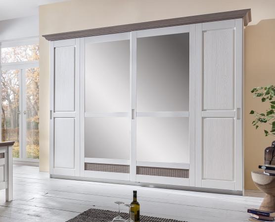 locarno schwebet renschrank breite 266 cm pinie teilmassiv wei grau kaufen m bel shop empinio24. Black Bedroom Furniture Sets. Home Design Ideas