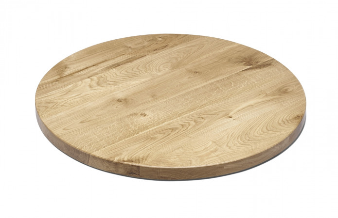 Runde Tischplatte Eiche massiv lackiert 80 cm NAPOLI