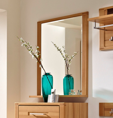 Spiegel mit Ablageboden aus Kernbuche teilmassiv NOVARA
