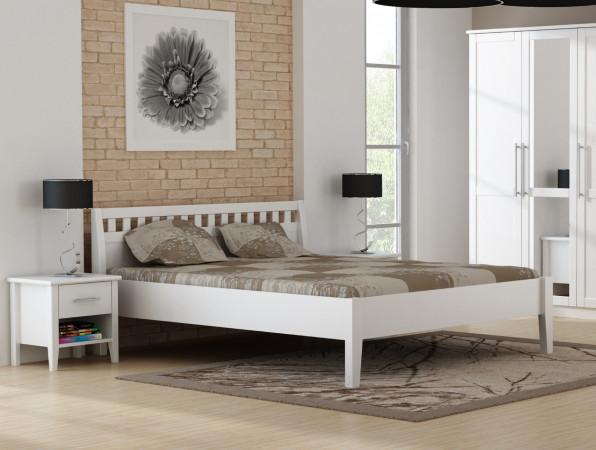Holzbett PAULA aus massiver Kiefer weiß lackiert