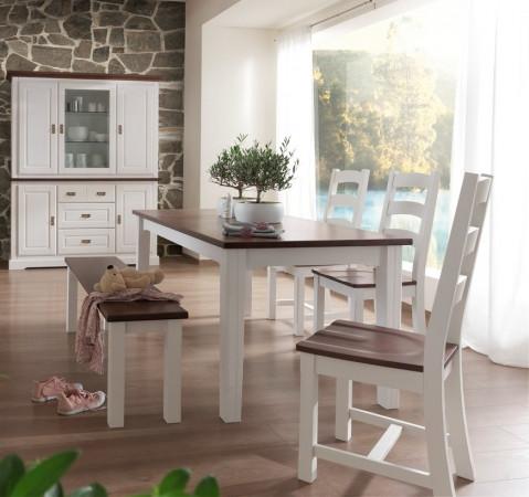 Porto Esstisch 180x90 Pinie Massiv Weiss Cognac Kaufen Möbel