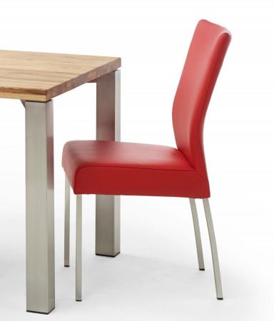 Esszimmerstuhl aus Leder Farbe wählbar Beine aus Edelstahl QIARA