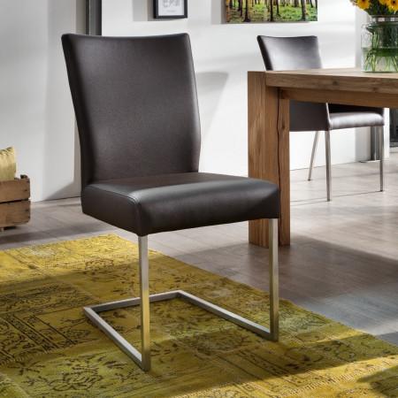 qiara freischwinger stuhl echtleder edelstahl kaufen m bel shop empinio24. Black Bedroom Furniture Sets. Home Design Ideas