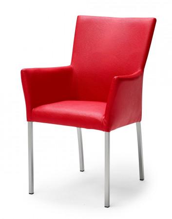 QIARA Armlehnstuhl Bezug aus Kunstleder und Beine aus Edelstahl