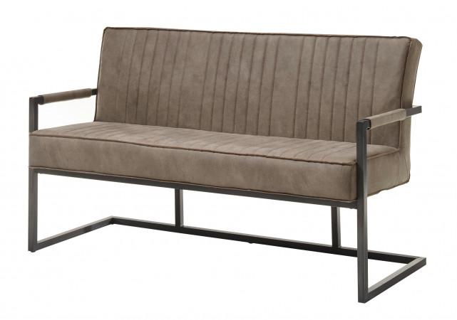 3-Sitzer Sitzbank mit Armlehnen und Federkern 160 cm breit taupe braun Norwich