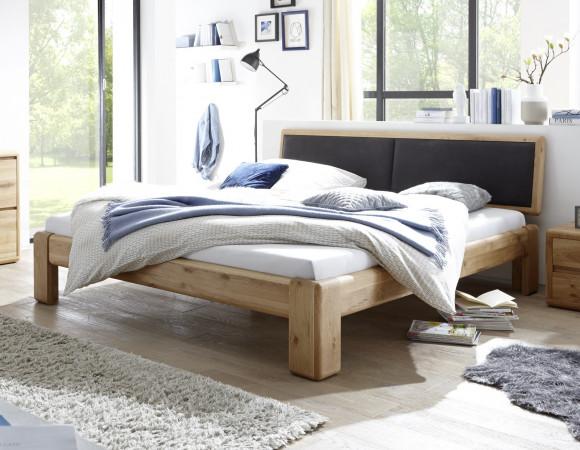 Bett 160x220 Wildeiche massiv mit Polsterkopfteil schwarz VERONA
