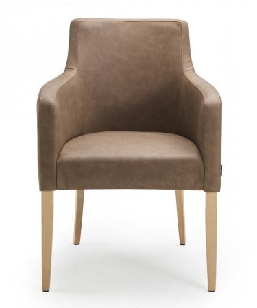 Armlehnstuhl aus Leder Beine aus Buche oder Eiche Farben wählbar VIRGINIA