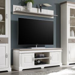 TV-Lowboard 144 cm mit Wandboard weiß Kiefer massiv CORDOBA