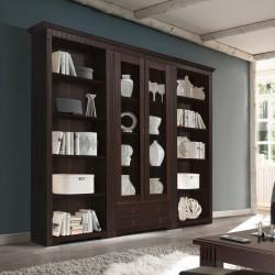 CORDOBA 2x Regale + Vitrine Bibliothek Kiefer massiv kolonial lackiert